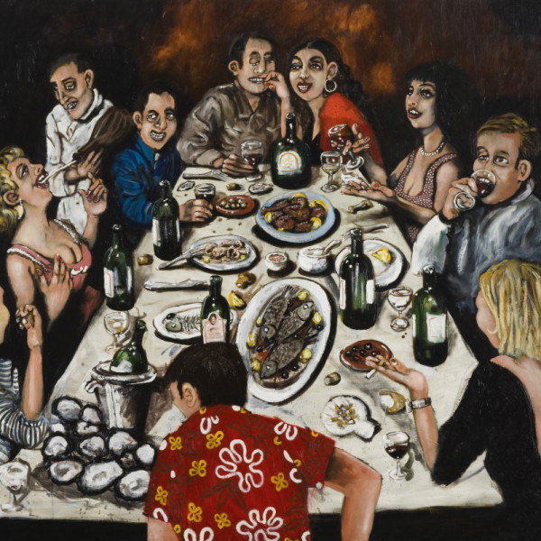 'Dinner parties' (137x186cm) oil on canvas (private collection)