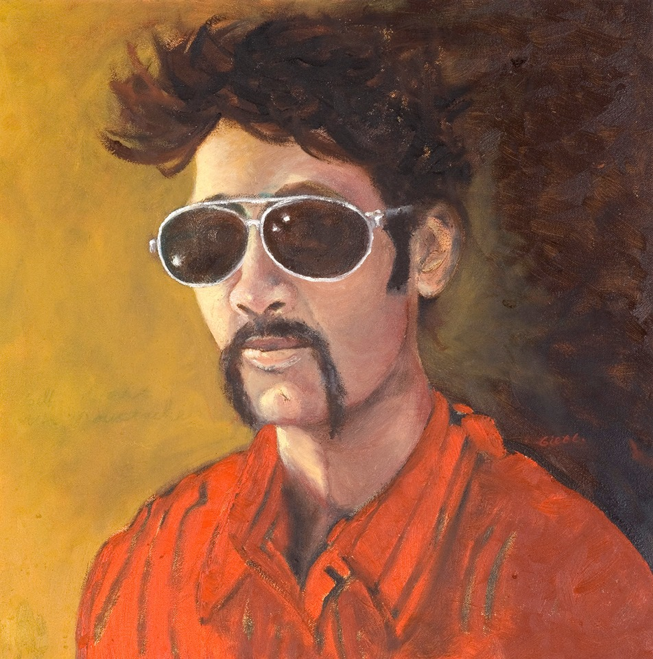 'Self portrait with mustache' (80x80cm oil on canvas (private collection)